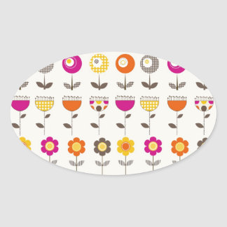 Pretty Colorful Spring Flowers Whimsical Pattern Stickers