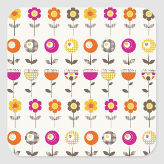 Pretty Colorful Spring Flowers Whimsical Pattern Sticker