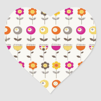 Pretty Colorful Spring Flowers Whimsical Pattern Heart Sticker