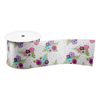 Pretty Colorful Summer Floral Pattern Satin Ribbon