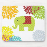 Pretty Colourful Hippie Elephant Flower Power Mouse Pad