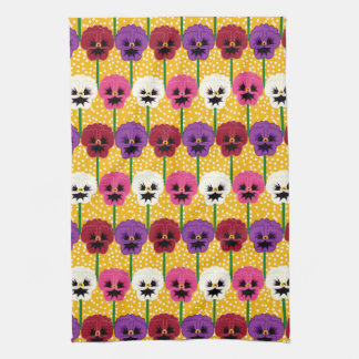 Pretty Colourful  Pansy  Flowers Tea Towel
