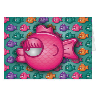 Pretty Colourful Pink Fish Greeting Card