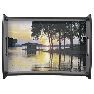 Pretty Contemporay Colors Sunset On Lake Serving Tray