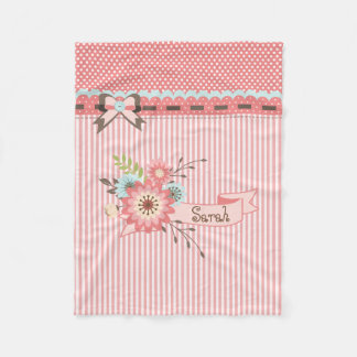 Pretty Coral Personalized Fleece Baby Blanket