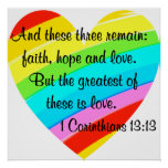 PRETTY CORINTHIANS 13:13 RAINBOW HEART DESIGN POSTER