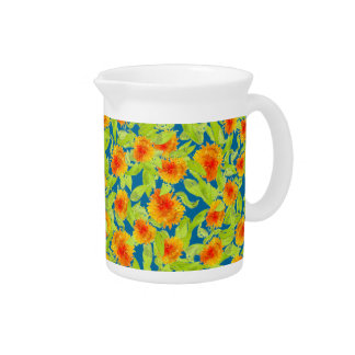 Pretty Country Marigolds on Blue Pitcher or Jug