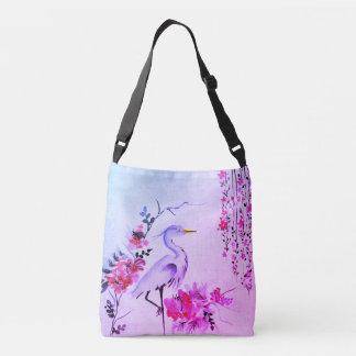 Pretty crane flower vintage  pink purple tote bag