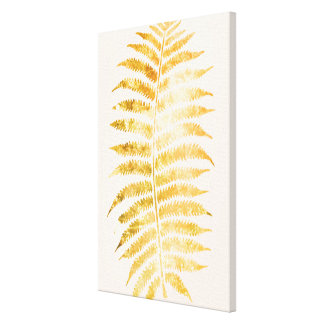 Pretty Cream and Gold Fern Leaf Gallery Wrapped Canvas