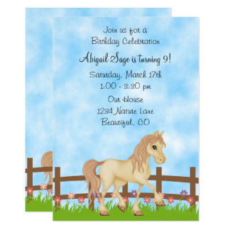 Pretty Cream Horse and Flowers Birthday Invitation