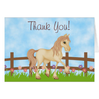 Pretty Cream Horse and Flowers Thank You Note Card