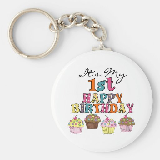 Pretty Cupcakes 1st Birthday Tshirts and Gifts Keychain