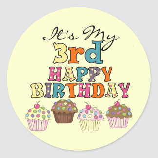 Pretty Cupcakes 3rd Birthday Tshirts and Gifts Classic Round Sticker