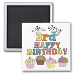 Pretty Cupcakes 3rd Birthday Tshirts and Gifts Square Magnet