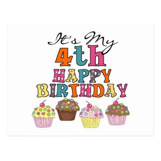 Pretty Cupcakes 4th Birthday Tshirts and Gifts Postcard