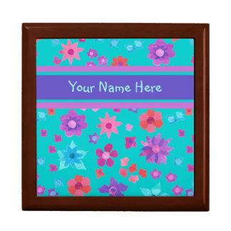 Pretty Custom Flower-Power Jewellery or Trinket Large Square Gift Box