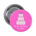 Pretty Customisable Birthday Cake Pink 6 Cm Round Badge