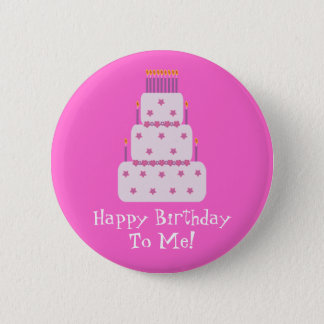 Pretty Customizable Birthday Cake Pink 6 Cm Round Badge