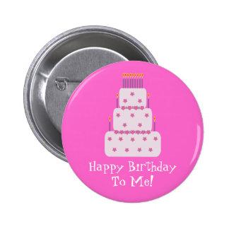 Pretty Customizable Birthday Cake Pink 6 Cm Round Badge