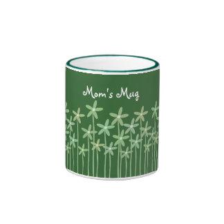 Pretty Customizable Green Flowers Ringer Mug