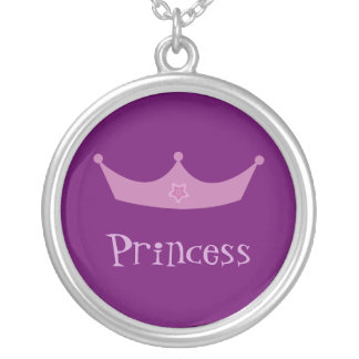 Pretty Customizable Purple & Lilac Princess Crown Silver Plated Necklace
