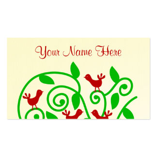 Pretty Cute and Chic Swirly Tree Bush Birds Design Business Card