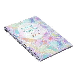 Pretty Cute Colorful Futuristic Swirls Pattern Spiral Note Book