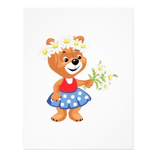 pretty cute daisy girly bear personalized flyer