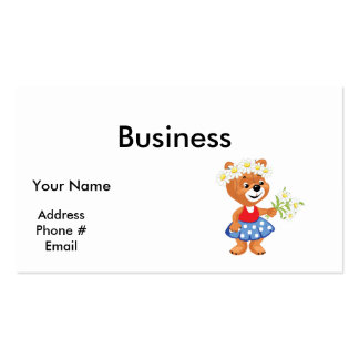 pretty cute daisy girly bear pack of standard business cards