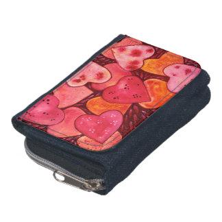 Pretty Cute Heart Watercolor Denim Purse Wallet