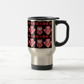 Pretty Cute Pink Owls and Flowers Pattern Black Coffee Mugs
