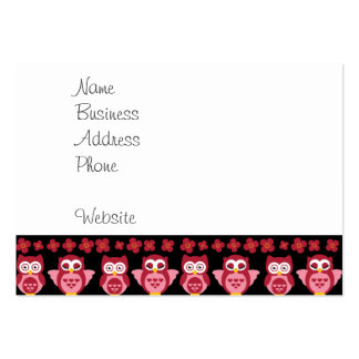 Pretty Cute Pink Owls and Flowers Pattern Black Pack Of Chubby Business Cards