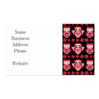 Pretty Cute Pink Owls and Flowers Pattern Black Pack Of Standard Business Cards