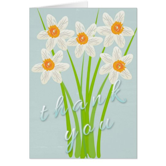 Pretty Cute Watercolor Art Daffodil Thank you Card