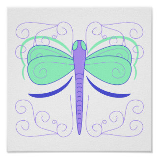 Pretty Cyan And Blue Dragonfly Poster