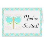Pretty Cyan And Green Dragonfly Invitation Greeting Cards