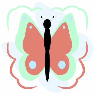 Pretty Cyan And Pink Butterfly Ornament Photo Cutout