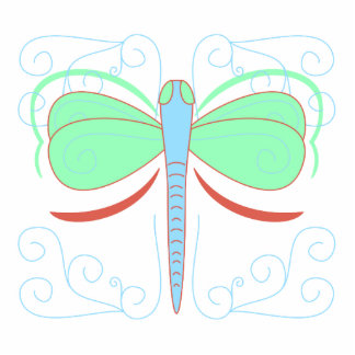 Pretty Cyan And Pink Dragonfly Ornament Photo Sculpture Decoration