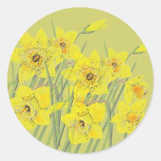 Pretty Daffodils Classic Round Sticker