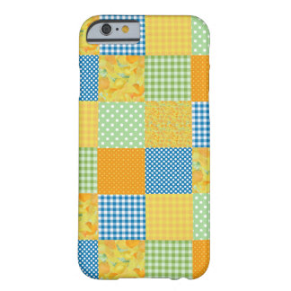 Pretty Daffodils, Polkas, Gingham Faux Patchwork Barely There iPhone 6 Case