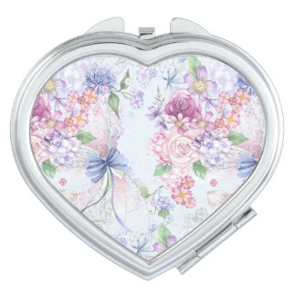 Pretty Dainty Pastel Floral Flower Design Makeup Mirrors
