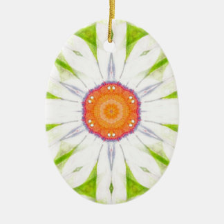 Pretty daisy design ceramic oval decoration