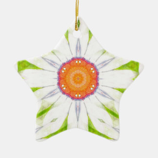 Pretty daisy design ceramic star decoration