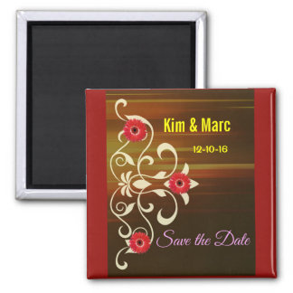 Pretty Daisy Pattern Save the Date Magnets