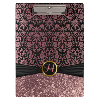 Pretty Damask & Dusty Rose Glitter Design Clipboard