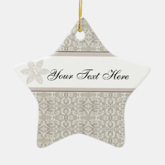 Pretty Damask Lace Design Ceramic Star Decoration