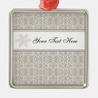Pretty Damask Lace Design Christmas Ornament