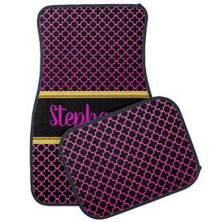Pretty Damask Lace Pattern Pink and Black #16 Car Mat