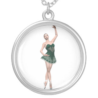 Pretty Dancing Ballerina Silver Plated Necklace