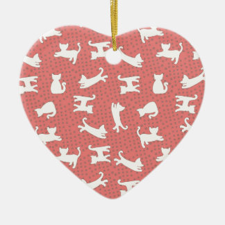 Pretty Dancing Cats Ceramic Heart Decoration